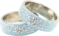 The Fine World Broad Kadas In White Stones And Sky Blue Beads Metal Zircon Silver Plated Bangle Pack Of 2