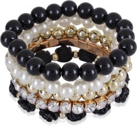 Cinderella Collection By Shining Diva Trendy Fashion Pearl & Black Rose Design Multilayer Charm Alloy Bracelet Set Pack Of 5