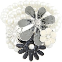 Young & Forever Princess Rose Pearl Black Floral Alloy, Enamel Bracelet