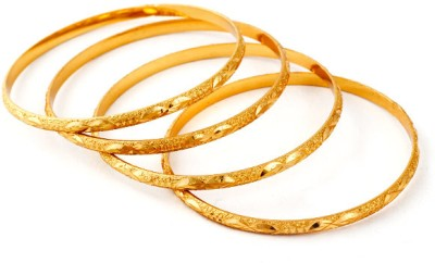 Ethnic Jewels Brass 14K Yellow Gold Plated Bangle Set Pack of 4