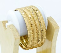 BDF BdfMay20155 Brass 14K Yellow Gold Plated Bangle Set Pack Of 4