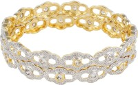 Affinity Designer Kundan Work Alloy, Silver Cubic Zirconia 22K Yellow Gold Plated Bangle Set Pack Of 2