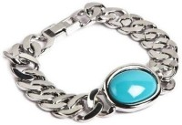 Ammvi Creations Bollywood Style 316l For Men Stainless Steel Turquoise Rhodium Plated Bracelet