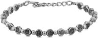 Voylla Artifictial Floral Oxidised Alloy Silver Plated Bracelet