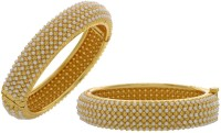 Pearls Cart Alloy Yellow Gold Bangle Set (Pack Of 2)