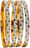 Maayra Trendy Micron Gold Plated Alloy Crystal Rhodium Plated Bangle Set Pack Of 4