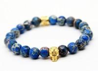 Ruvee Thunder Gods Gold Skull Stone Stone 18K Yellow Gold Bracelet