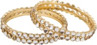 Newsantosh Fully White Colour Kundan 4 Metal Bangle Set Pack Of 4