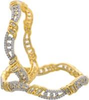 Hyderabad Jewels Alloy, Silver Zircon Rhodium Bangle Set Pack Of 2