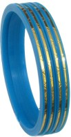 Ratnakar Set Of 4 Sky Blue Chudai In Golden Border Acrylic Yellow Gold Plated Bangle Set Pack Of 4