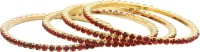 Gold & More Gold Plated Ruby Alloy Yellow Gold Plated Bangle Set Pack Of 4