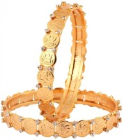 The Jewelbox Lakshmi Cz Brass Yellow Gold Plated Bangle Set Pack Of 2