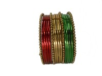 MY Design Bridal Chudas Alloy Yellow Gold Bangle Set (Pack Of 16)
