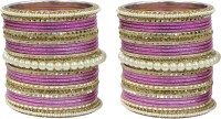 Muchmore Beautiful Design Pink Colour Pearl Stone Fashion Wedding Wear Jewelry Set Of 50 Alloy Pearl Bangle Set Pack Of 50