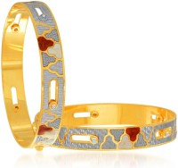 Sukkhi Dazzling Dancing Stone Alloy 18K Yellow Gold, Rhodium Plated Bangle Set Pack Of 2