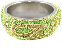 The Fine World Green Broad Kada With The Traditional Ambi Pattern Finished Metal Zircon Silver Plated Bangle