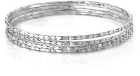 Voylla Alloy Zircon Silver Bangle Set (Pack Of 4)