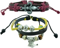 Alpha Man AM_CLB_FYPR Leather Bracelet Set Pack Of 2