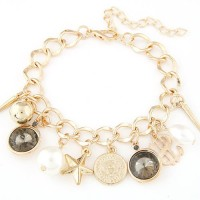 Cinderella Collection By Shining Diva Enticing Golden & Black Crystal Alloy Charm Bracelet