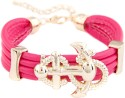 Young & Forever Anchor Cuff Fusia Alloy, Leather Bracelet - BBADWZZDPQJMYRSF