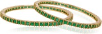 American Diamond Beautiful Copper, Brass Emerald 18K Yellow Gold, Rhodium Plated Bangle Set Pack Of 2