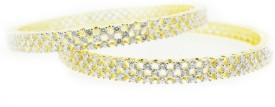 Aabhushan Jewels Alloy Cubic Zirconia Rhodium Bangle Set (Pack Of 2)