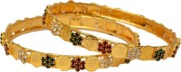 Pourni Gold Plated Color Stone Laxmi -28 Brass Zircon Brass Plated Bangle Set Pack Of 2