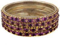 The Fine World Set Of Shining Golden And Voilet Chudi Metal Zircon Brass Plated Bangle Set Pack Of 4