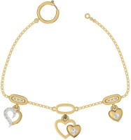TBZTheOriginal TBZ - The Original 18KT Yellow Gold Love Heart Loose Bracelet With 0.05cts Diamonds Yellow Gold 18kt Diamond Bracelet