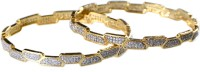 Rein Lifestyles Shenaz Brass 8K Yellow Gold Plated Bangle Set Pack Of 2