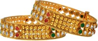 Fabroop Antique Gold Toned Copper Bangles Alloy Yellow Gold Plated Bangle Pack Of 2