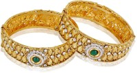 Shining Diva Gold Plated Adjustable Alloy Yellow Gold Plated Bangle Set Pack Of 2