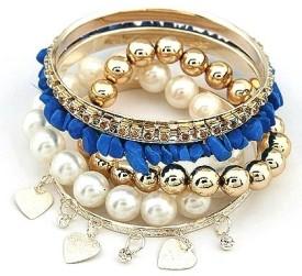 Crunchy Fashion Blue Stone Pearl Bracelet Set Alloy Bangle Set: Bangle Bracelet Armlet