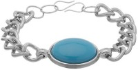 D&D Salman Khan Look Alike Stunning Blue Stone Studded Trendy Alloy Silver Plated Bracelet