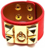 Big Pout Red Studded Faux Leather Bracelet