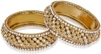 Shining Diva Antique Golden Alloy Yellow Gold Plated Bangle Set Pack Of 2