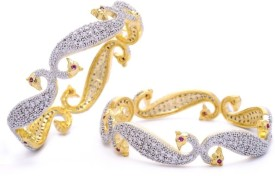 M Gold Peacock Alloy 18K Yellow Gold Bangle Set (Pack Of 2)