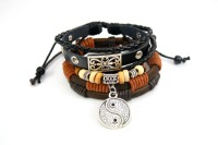 Streetsoul Yin Yang Leather Bracelet Set Pack Of 2