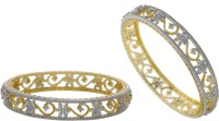 Hyderabad Jewels Alloy, Silver Zircon Bangle Set (Pack Of 2)