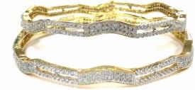 Jewelshingar Brass Cubic Zirconia, Zircon Rhodium Bangle Set