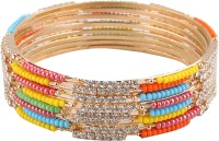 Newsantosh Colourful Bollywood Style Alloy Crystal Rhodium Plated Bangle Set Pack Of 8
