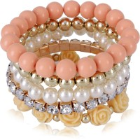 Cinderella Collection By Shining Diva Trendy Fashion Pearl & Orange Rose Design Multilayer Charm Alloy Bracelet Set Pack Of 5
