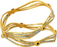 Luxor Fashionable Party Wear Brass Yellow Gold Plated Bangle Set Pack Of 2