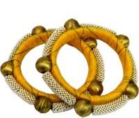 Ratnakar Golden Ball Copper Yellow Gold Plated Bangle Set Pack Of 2