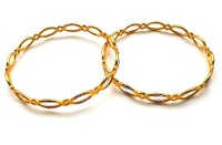 HKJ Evening Shine Brass 14K Yellow Gold Plated Bangle Set Pack Of 2