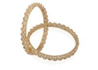Accessher Dazzling Diamond Bangles Brass Bangle Set (Pack Of 2)