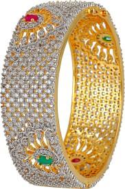 Alysa Brass, Alloy, Silver Cubic Zirconia, Ruby, Emerald Yellow Gold, Rhodium Bracelet
