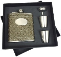 KARP Alligator Skin Type 7oz Leather Wrapped Stainless Steel 304 Hip Flask / 2 Shot Glass / 1 Funnel Set 4 - Piece Bar Set (Stainless Steel)