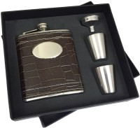 KARP Armadillo Skin Type 7oz Leather Wrapped Stainless Steel 304 Hip Flask / 2 Shot Glass / 1 Funnel Set … 4 - Piece Bar Set (Stainless Steel)