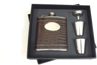 KARP Snake Skin Type 7oz Leather Wrapped Stainless Steel 304 Hip Flask / 2 Shot Glass / 1 Funnel Set 4 - Piece Bar Set (Stainless Steel)